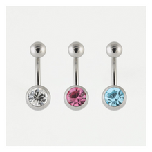 Load image into Gallery viewer, Steel Single Jewelled Belly Bar  316L Surgical Steel