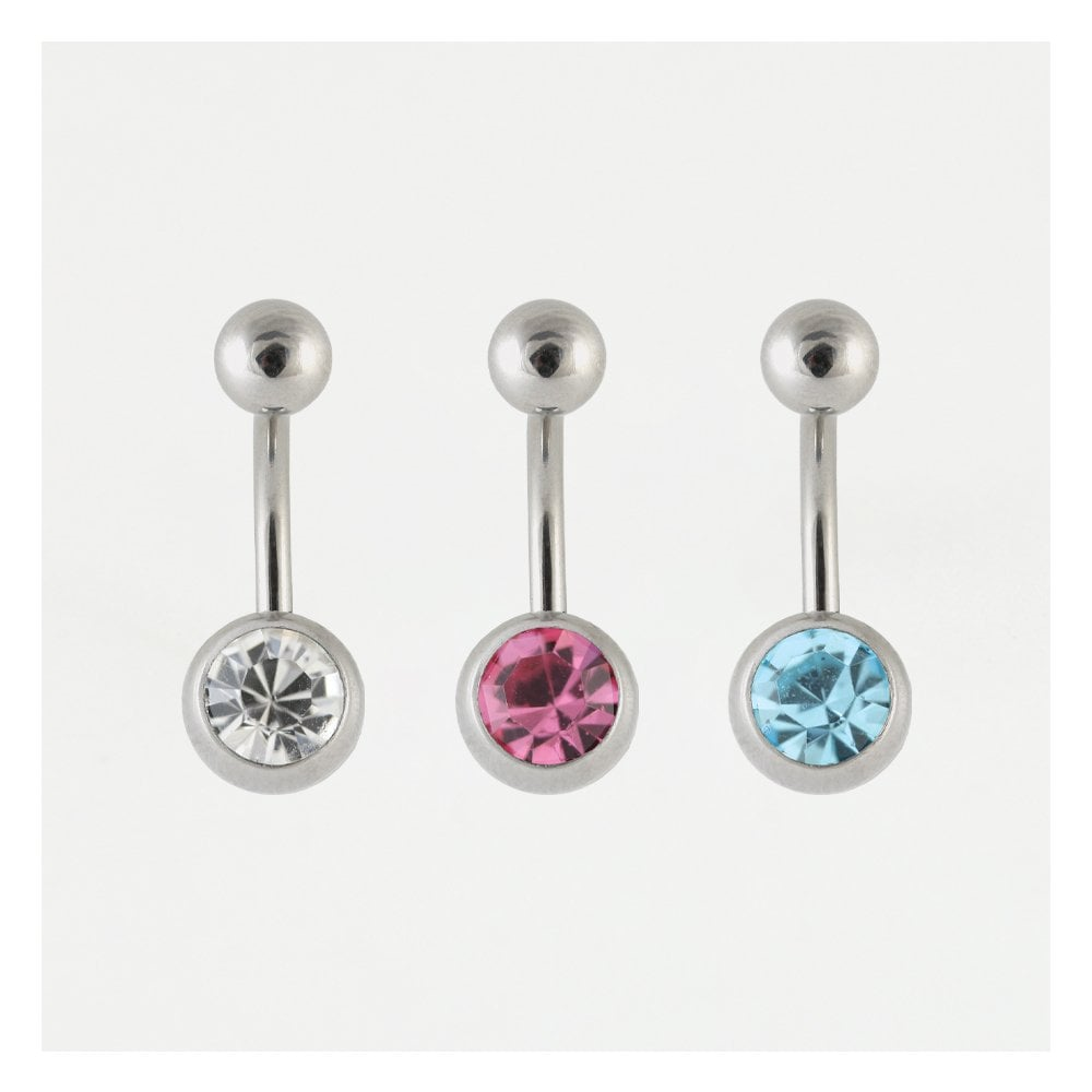 Steel Single Jewelled Belly Bar  316L Surgical Steel