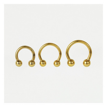 Load image into Gallery viewer, Gold Horseshoe / Circular Barbell (CBB) 1.2mm  PVD Gold Steel