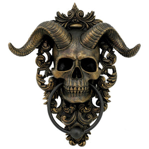 Diabolus Horned Skull Door Knocker