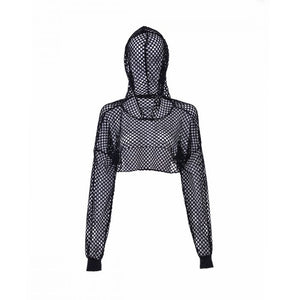 Black Fishnet Hooded Top