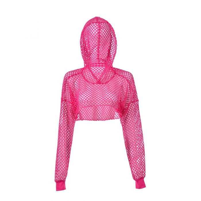 Pink Fishnet Hooded Top