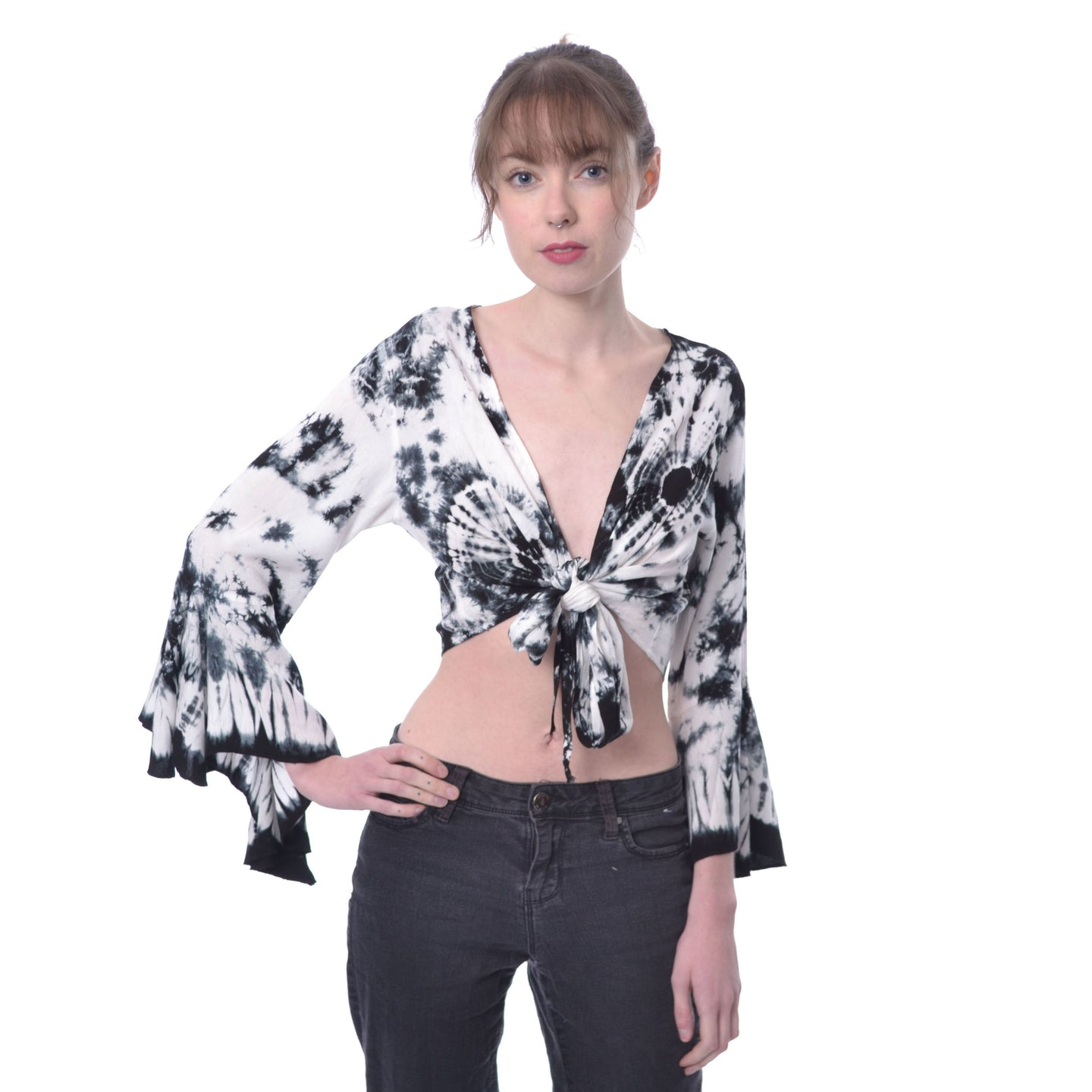 Innocent Echo Tie Top - White/Black
