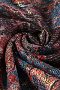 Paisley Metallic Thread Pashmina Scarf – BLACK