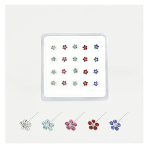 Gem set Daisy Nose Studs - 5 COLOURS