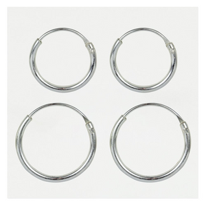 Sterling Silver Hoop Earrings 8mm - 16mm