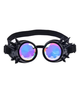 Black Kaleidoscope Steampunk Goggles with Spikes