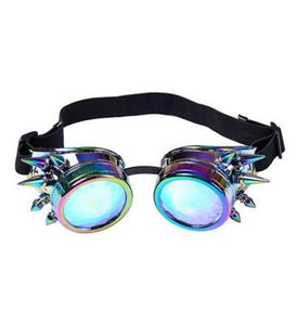 Neon Chrome Kaleidoscope Steampunk Goggles with Spikes