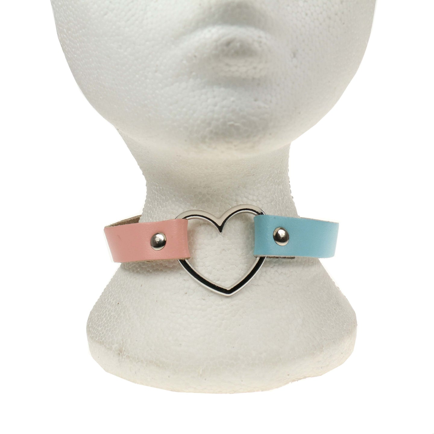 1 Row Heart Leather Choker/Neckband – Baby Pink & Baby Blue