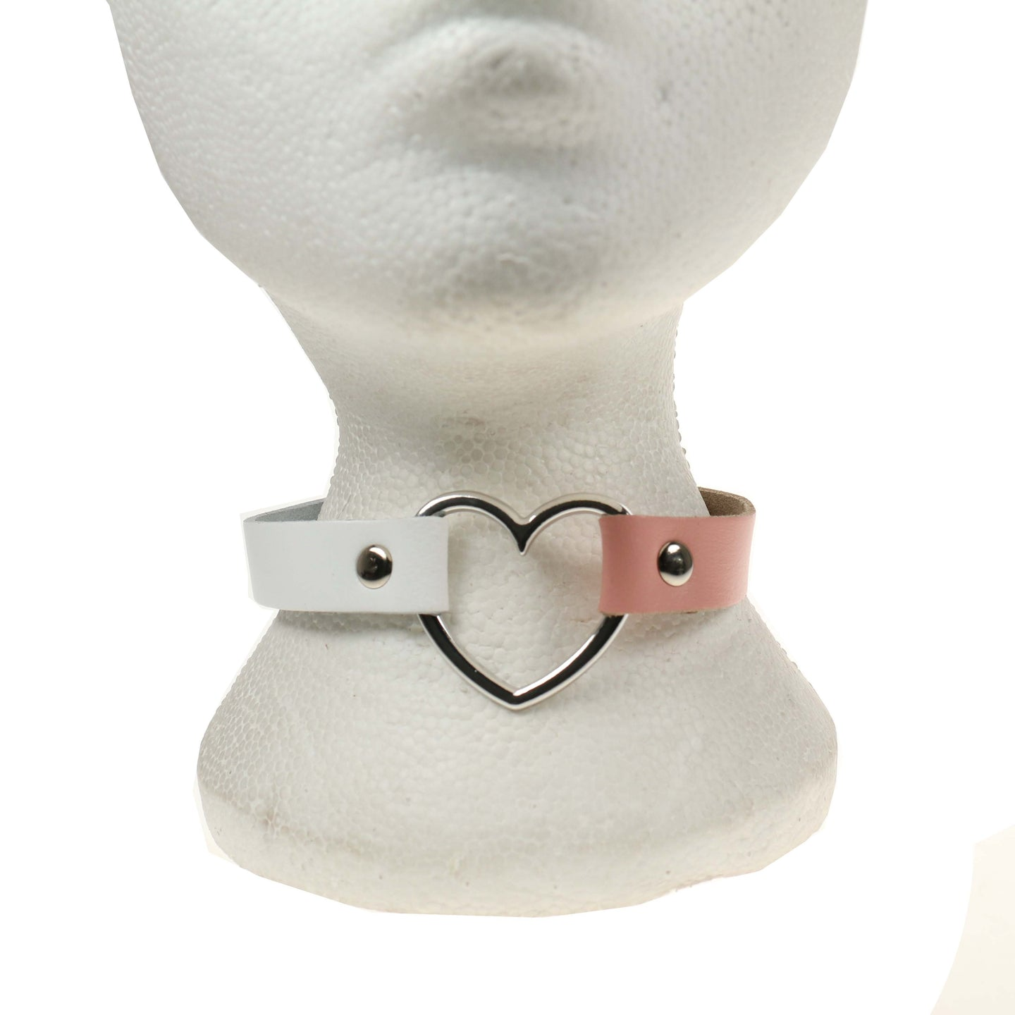 1 Row Heart Leather Choker/Neckband – White & Baby Pink