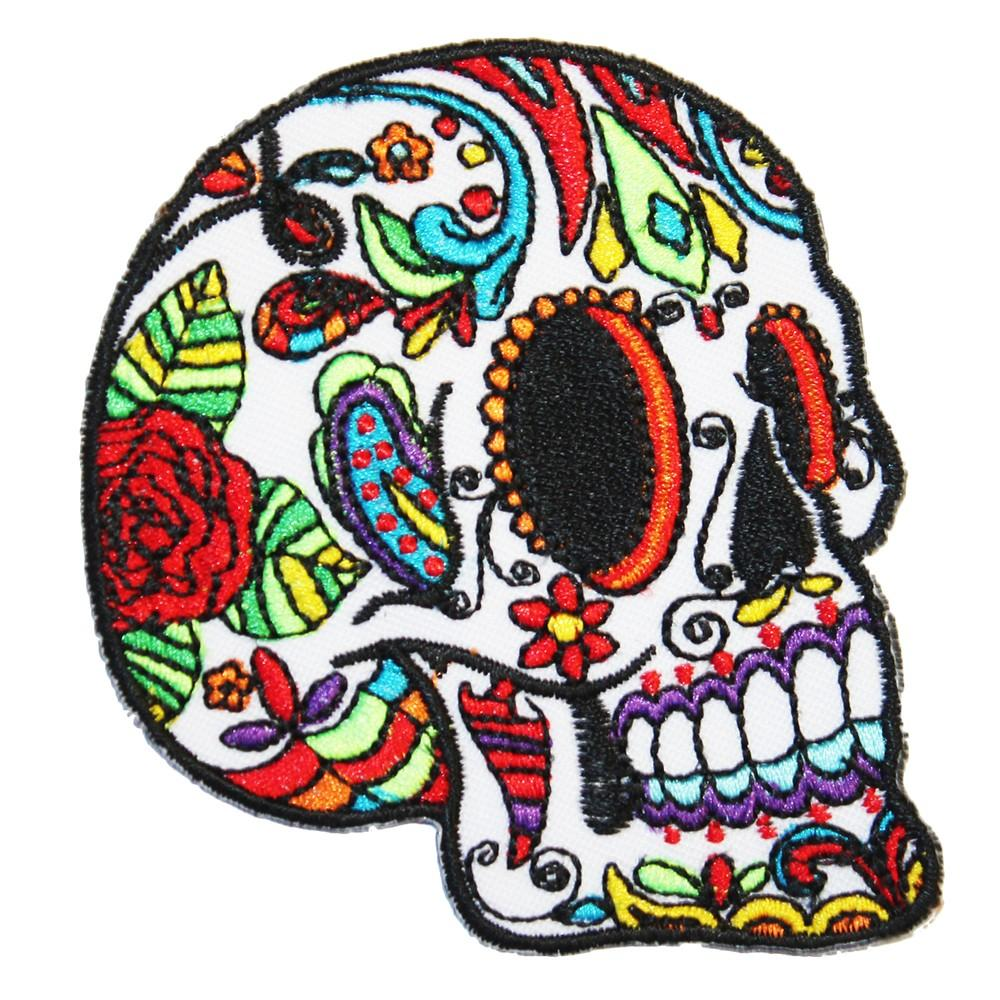 WHITE SUGAR SKULL PATCH