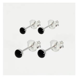 Black Enamel Ear Stud 5mm - 8mm