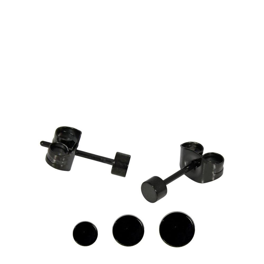 Black Round Ear Stud 3mm- 5mm  PVD Black Steel