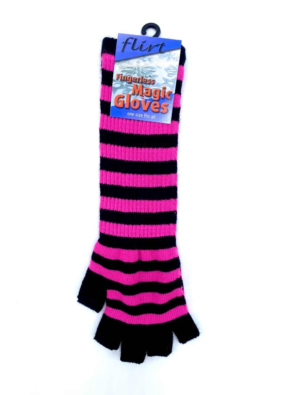 Black with Pink Stripes Long Fingerless Magic Gloves
