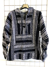 Load image into Gallery viewer, Mexican Baja Jerga Hoody - Black + White
