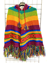 Load image into Gallery viewer, Knitted Mountain Poncho - RAINBOW