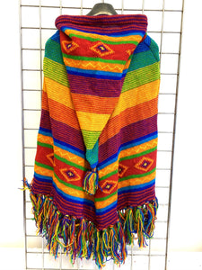 Knitted Mountain Poncho - RAINBOW