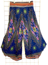 Load image into Gallery viewer, Peacock Print Thai Trim Trousers - BLUE