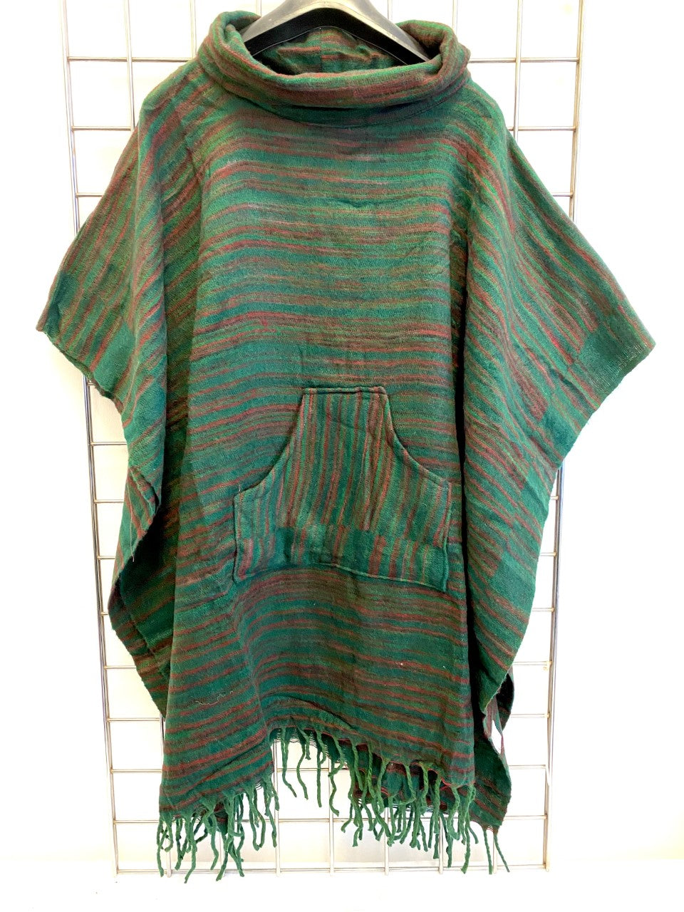 Hill Queen Stripe Fleece Poncho - GREEN