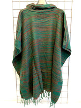 Load image into Gallery viewer, Hill Queen Stripe Fleece Poncho - GREEN