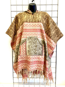 AZTEC HOODED NATURAL PONCHO