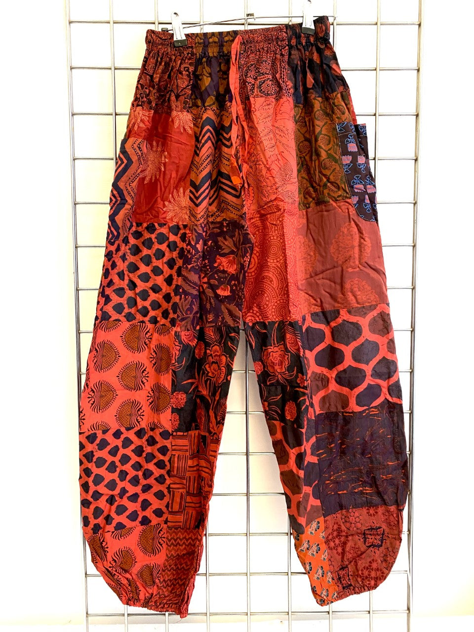 Patchwork Harem Trousers - RED
