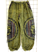 Load image into Gallery viewer, Stone Washed Harem Trousers – GREEN