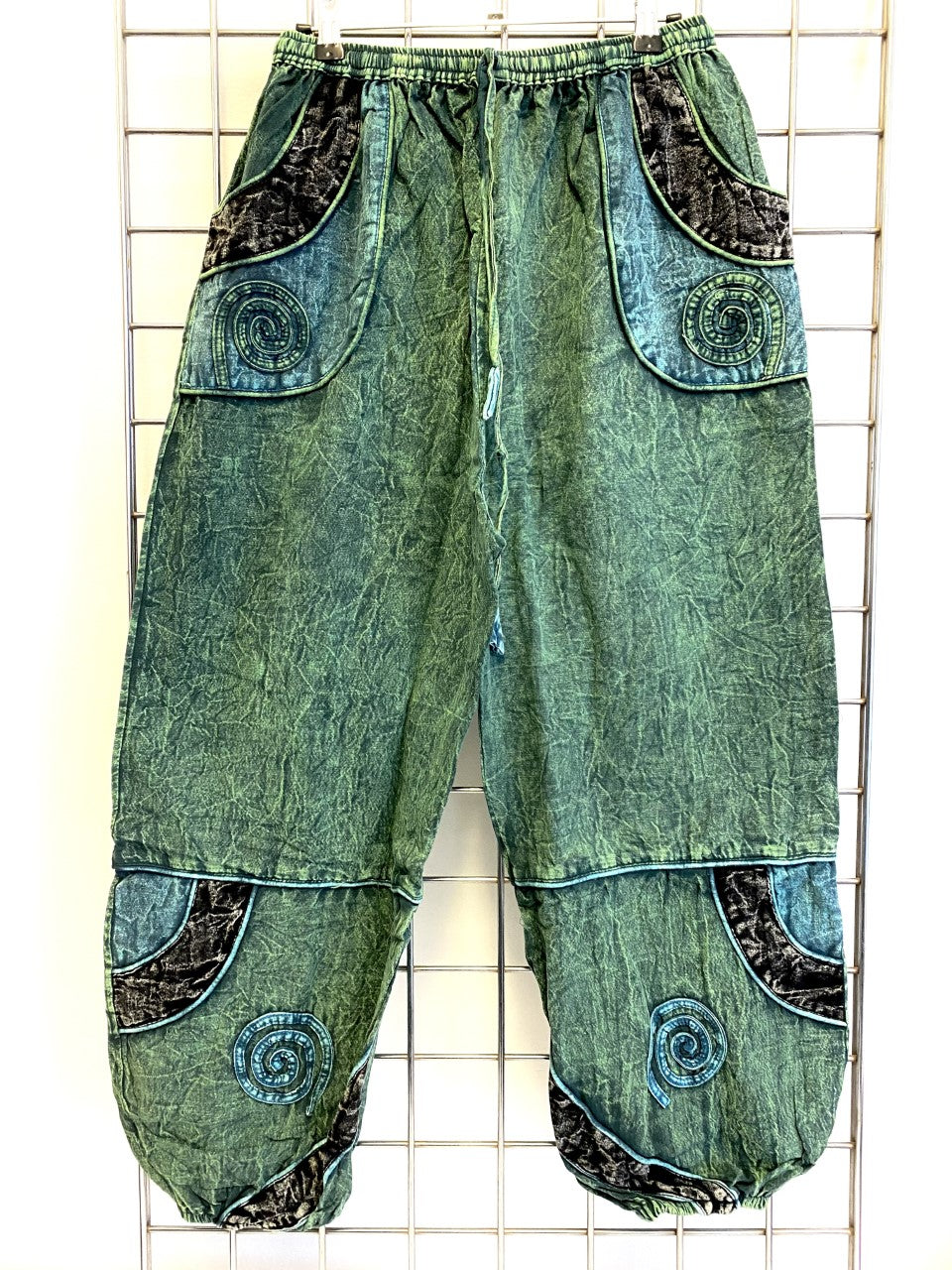 (9)Stone Washed Trousers – GREEN