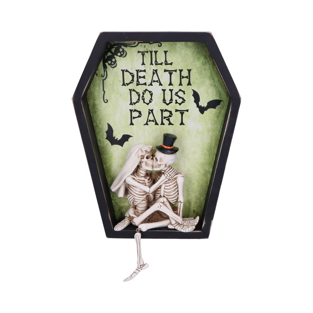 Till Death Do Us Part Skeleton Bride and Groom Wall Plaque
