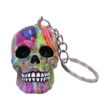Load image into Gallery viewer, Psychedelic Skull Keyring