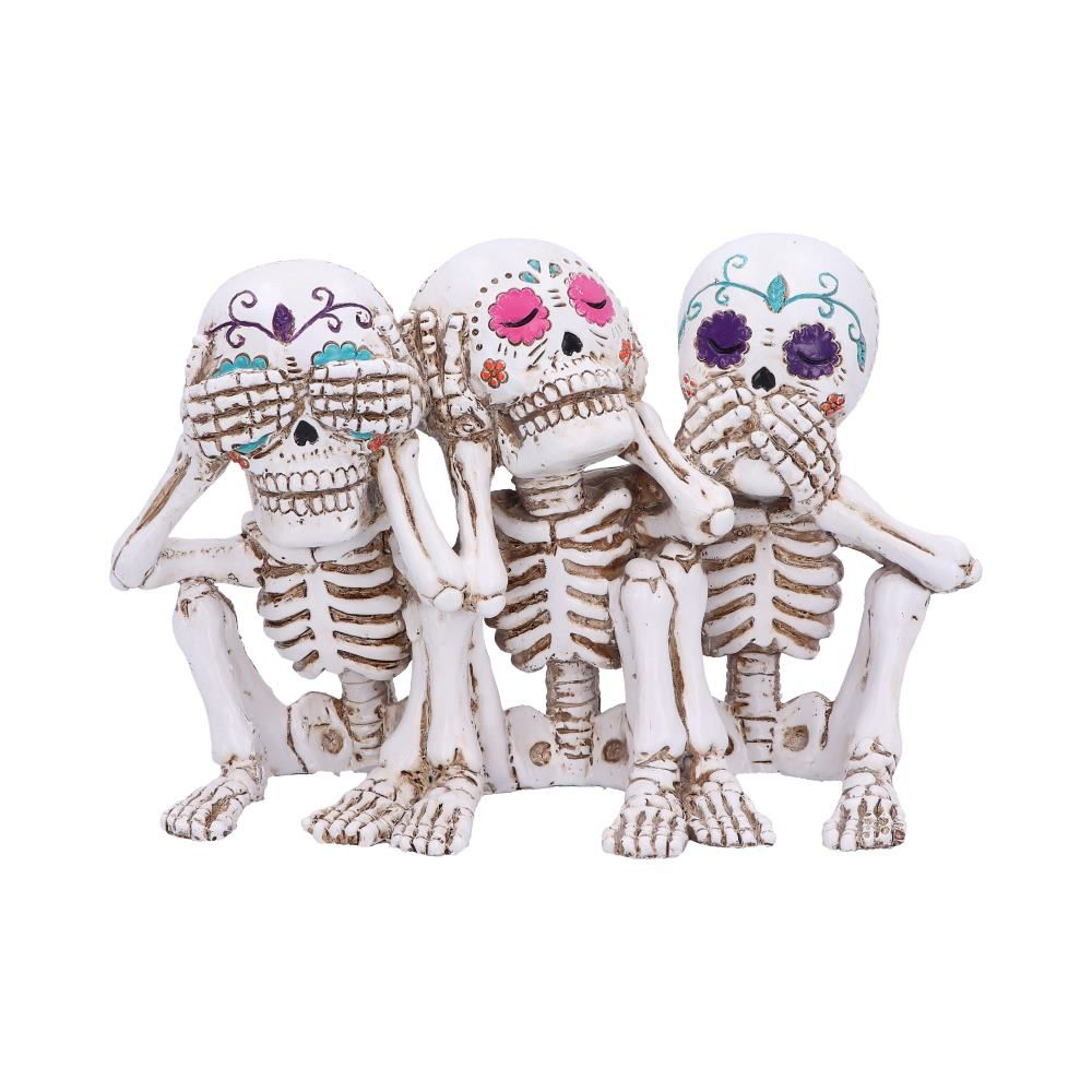 Three Wise Calaveras Skeleton Figurine – 20.3cm