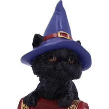 Load image into Gallery viewer, Hocus Small Witches Familiar Black Cat and Spell book Figurine