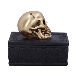 Celtic Opulence Golden Skull Black Trinket Box