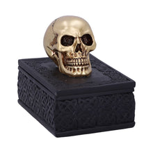 Load image into Gallery viewer, Celtic Opulence Golden Skull Black Trinket Box