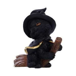 Tabitha Small Witches Familiar Black Cat and Broomstick Figurine