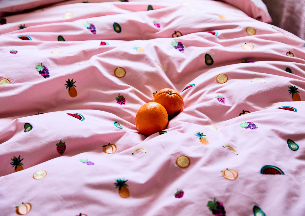 EAT YOUR FRUIT EMBROIDERED COTTON QUILT COVER