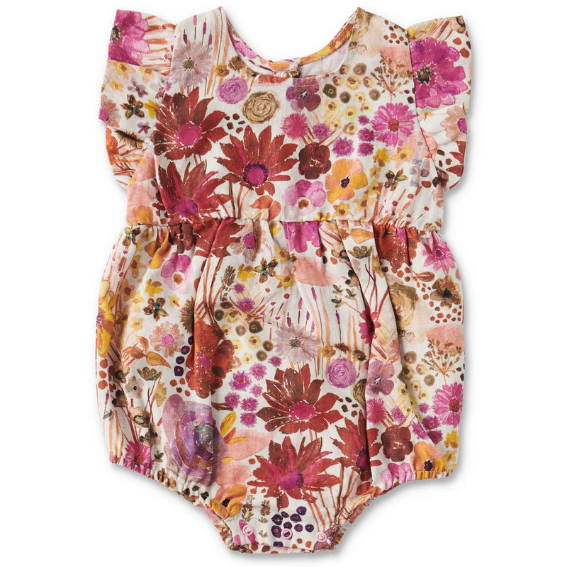 MAUVE FIELD OF DREAMS LINEN FRILL BABY PLAYSUIT