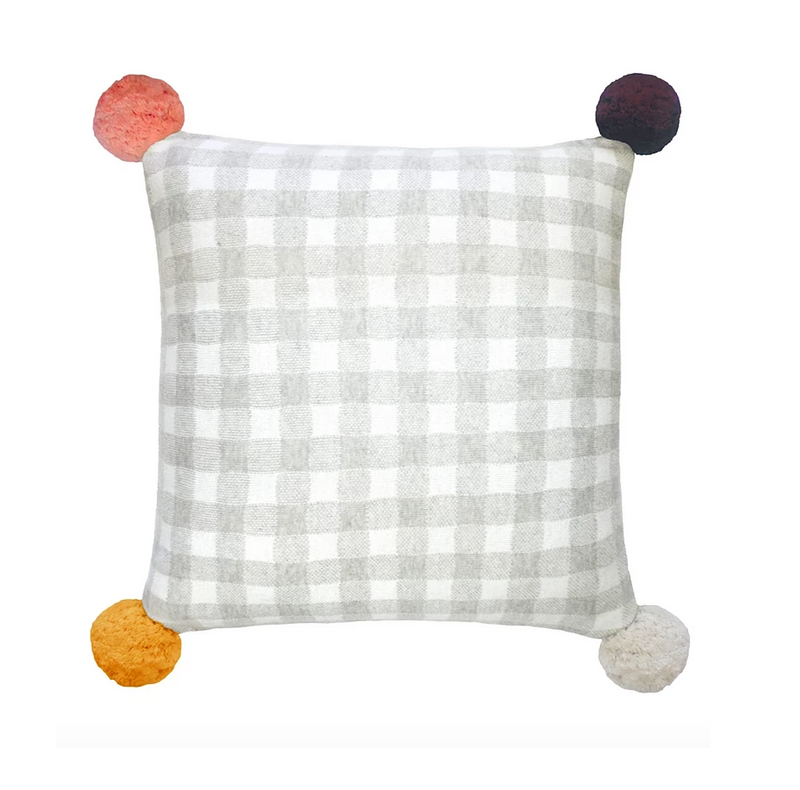 Gingham Pom Pom Cushion