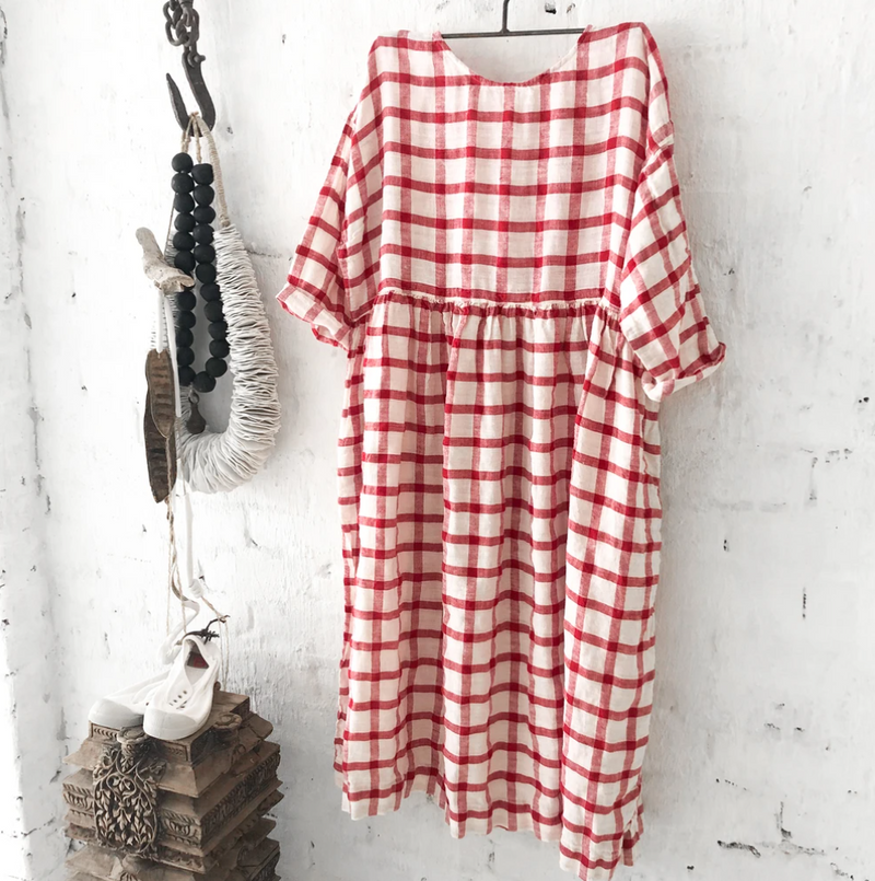 Sarah Linen Dress - Red & White Grid