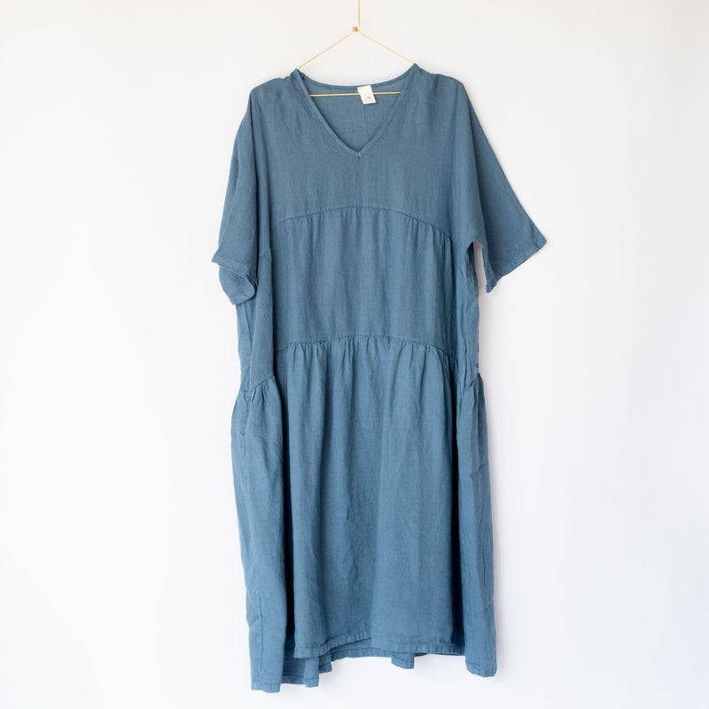 Layered Linen Dress Blue