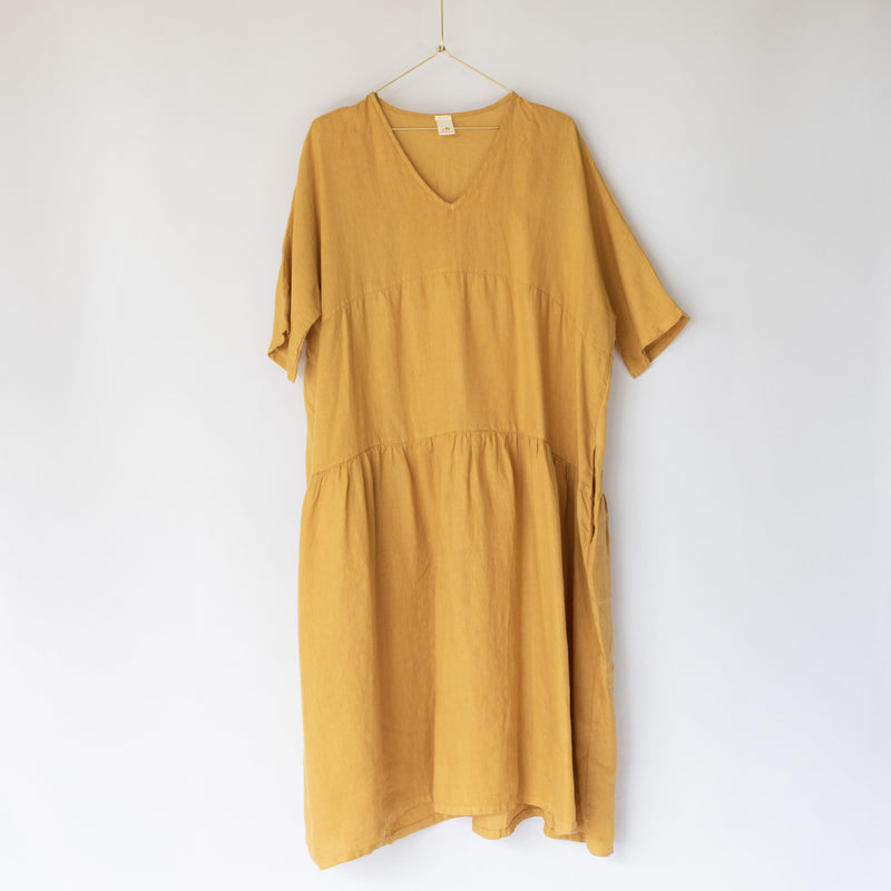 Layered Linen Dress Mustard