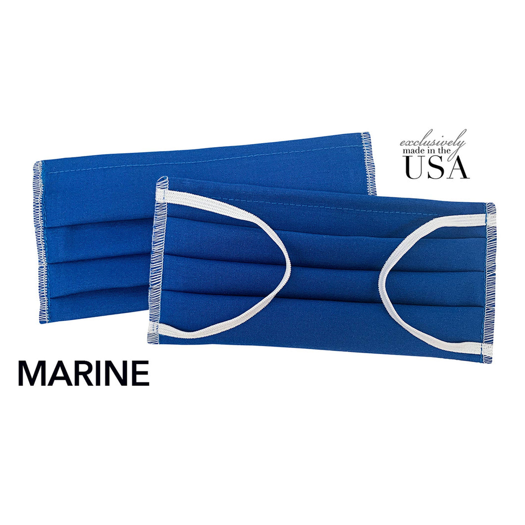 Snazzy and Co - New Solids! Re-Usable Cotton Face Mask - Marine Blue