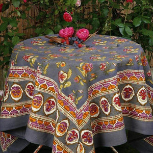 "Pansy Red & Grey Tablecloth 59"" x 59"""
