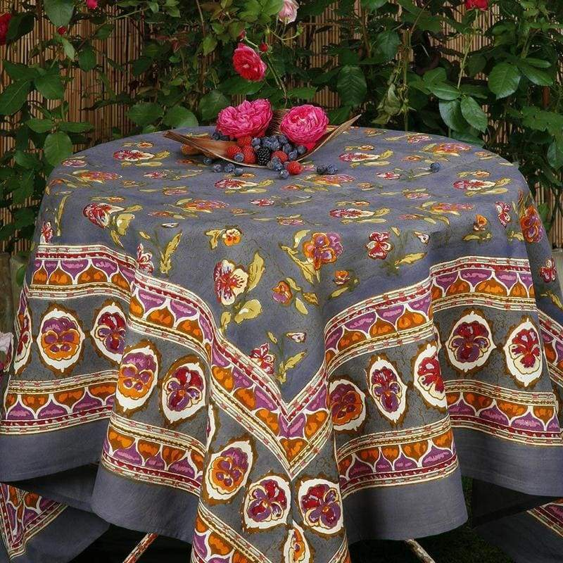 Pansy Red & Grey Tablecloth 59