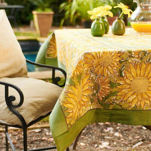 "Sunflower Yellow & Green Tablecloth 71"" x 128"""