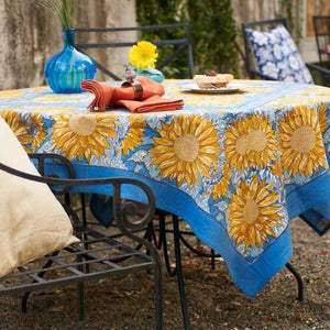 "Sunflower Yellow & Blue Tablecloth 71"" X 128"""