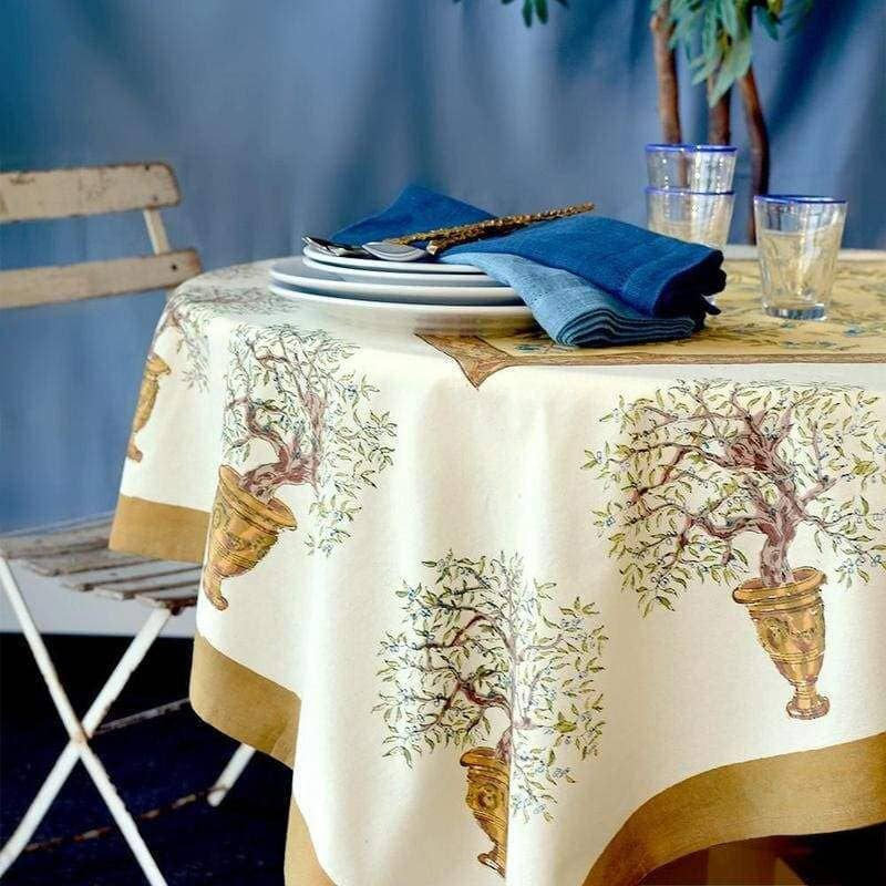 Olive Tree Khaki with Blue Tablecloth 59