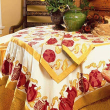 "Load image into Gallery viewer, Pomegranate Yellow with Red Tablecloth 71"" x 106"""