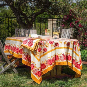 "Pomegranate Yellow with Red Tablecloth 71"" x 106"""