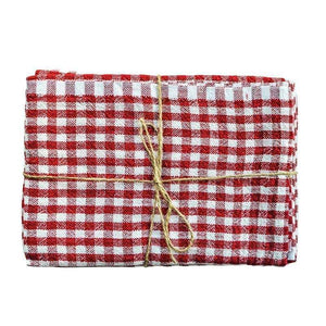 Gingham Kitchen Towels Red
